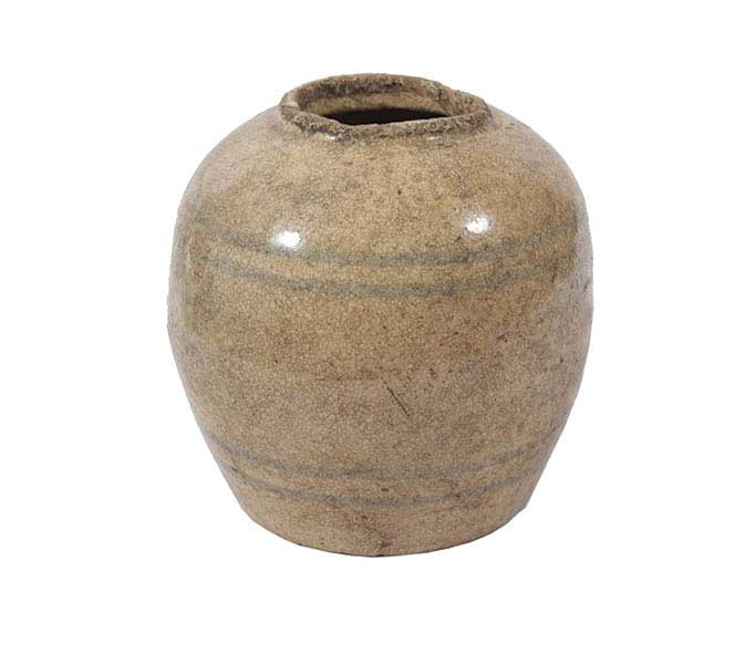 A brown glazed jar