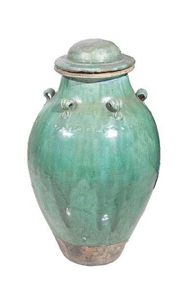 A Qing green-glazed storage jar and cover