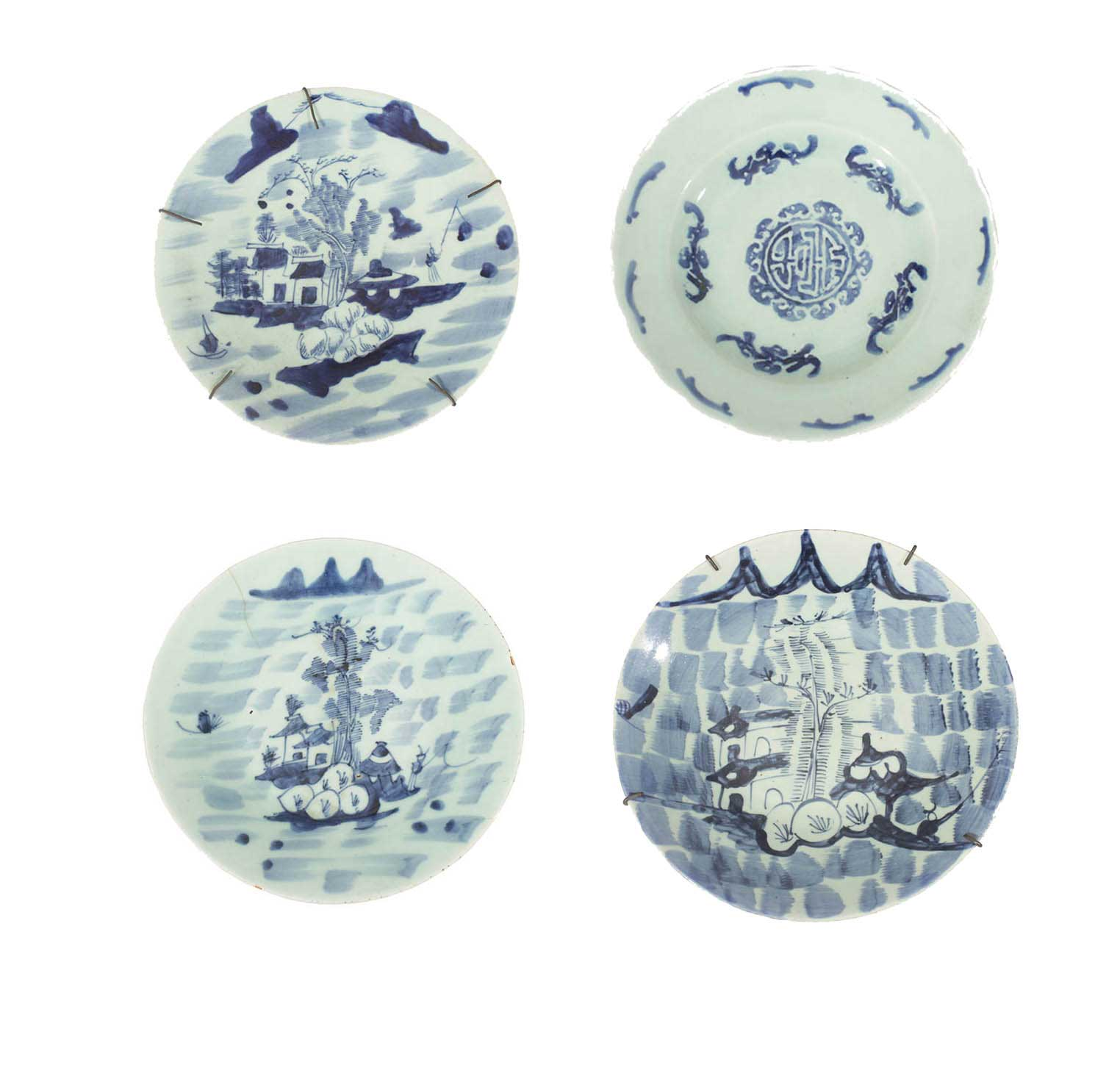Six 18 - 19th century kitchen Qing blue and white plates