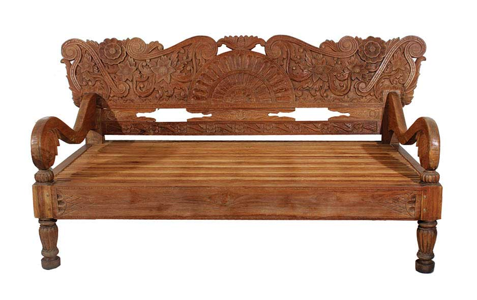 A Wooden Bench with Carved Back